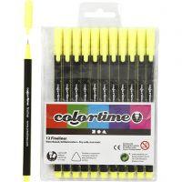 Colortime Fineliner Tusch, spets 0,6-0,7 mm, gul, 12 st./ 1 förp.