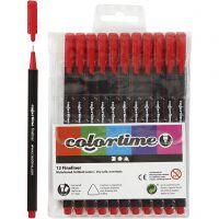 Colortime Fineliner Tusch, spets 0,6-0,7 mm, röd, 12 st./ 1 förp.