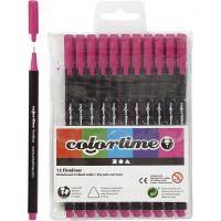 Colortime Fineliner Tusch, spets 0,6-0,7 mm, cyklamen, 12 st./ 1 förp.