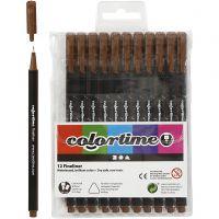 Colortime Fineliner Tusch, spets 0,6-0,7 mm, brun, 12 st./ 1 förp.