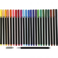 Colortime Fineliner Tusch, spets 0,6-0,7 mm, mixade färger, 24 st./ 1 förp.