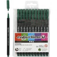 Colortime Fineliner Tusch, spets 0,6-0,7 mm, mörkgrön, 12 st./ 1 förp.
