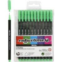 Colortime Fineliner Tusch, spets 0,6-0,7 mm, ljusgrön, 12 st./ 1 förp.