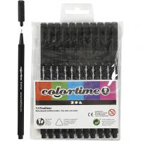 Colortime Fineliner Tusch, spets 0,6-0,7 mm, svart, 12 st./ 1 förp.