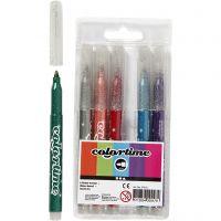Colortime glittertusch, spets 2 mm, mixade färger, 6 st./ 1 förp.