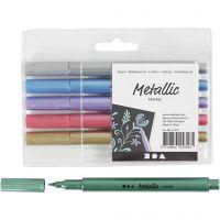 Metallictusch, spets 2-4 mm, metallicfärger, 6 st./ 1 förp.