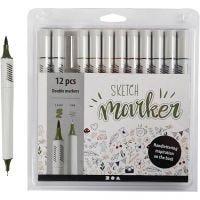 Sketch Marker, spets 1+2-5 mm, dova färger, 12 st./ 1 förp.