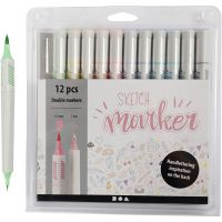 Sketch Marker, spets 1+2-5 mm, pastellfärger, 12 st./ 1 förp.
