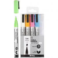 Chalk markers, spets 1,2-3 mm, starka färger, 5 st./ 1 förp.