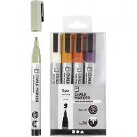 Chalk markers, spets 1,2-3 mm, dova färger, 5 st./ 1 förp.