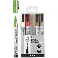 Chalk markers, spets 1,2-3 mm, metallicfärger, 5 st./ 1 förp.