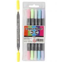 Colortime dubbeltusch, spets 2,3+3,6 mm, pastellfärger, 6 st./ 1 förp.