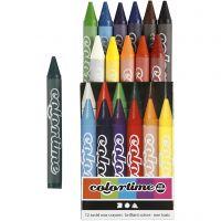 Colortime färgkritor, L: 10 cm, tjocklek 11 mm, mixade färger, 12 st./ 1 förp.