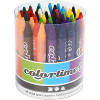 Colortime färgkritor, L: 10 cm, tjocklek 11 mm, mixade färger, 48 st./ 1 förp.