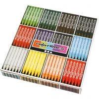 Colortime färgkritor, L: 10 cm, tjocklek 11 mm, mixade färger, 12x24 st./ 1 förp.