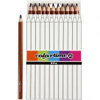 Colortime färgpennor, L: 17,45 cm, kärna 5 mm, JUMBO, brun, 12 st./ 1 förp.
