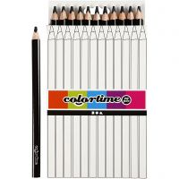 Colortime färgpennor, L: 17,45 cm, kärna 5 mm, JUMBO, svart, 12 st./ 1 förp.