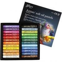 Gallery oljepastellkritor premium, L: 7 cm, tjocklek 10 mm, mixade färger, 24 st./ 1 förp.