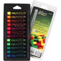 Gallery oljepastellkritor, L: 7 cm, tjocklek 11 mm, neonfärger, 12 st./ 1 förp.