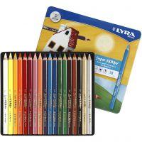 Lyra Super Ferby 1 färgpennor, L: 18 cm, kärna 6,25 mm, mixade färger, 18 st./ 1 förp.