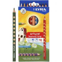 Groove färgpennor, L: 18 cm, kärna 4.25 mm, mixade färger, 10 st./ 1 förp.