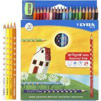 Groove Slim färgpennor, L: 18 cm, kärna 3,3 mm, mixade färger, 24 st./ 1 förp.