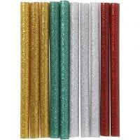 Limstängerna, L: 10 cm, glitter, guld, grön, röd, silver, 10 st./ 1 förp.