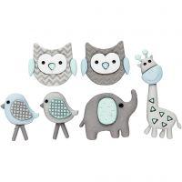 Figurknappar, babydjur, L: 17-35 mm, B: 15-20 mm, 6 st./ 1 förp.