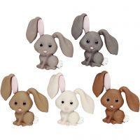 Figurknappar, kaniner, H: 28 mm, 5 st./ 1 förp.