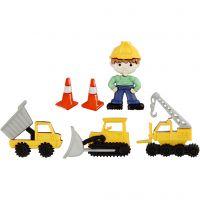 Figurknappar, byggarbetsplats, H: 14-29 mm, B: 10-30 mm, 6 st./ 1 förp.
