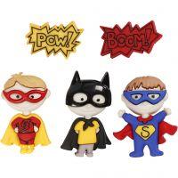 Figurknappar, superhjältar, H: 14-32 mm, B: 18-21 mm, 5 st./ 1 förp.