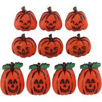 Figurknappar, halloweenpumpor, H: 14-20 mm, B: 13-14 mm, 10 st./ 1 förp.