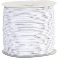 Elastiskt snöre, tjocklek 1 mm, vit, 250 m/ 1 rl.