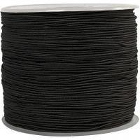 Elastiskt snöre, tjocklek 1 mm, svart, 250 m/ 1 rl.