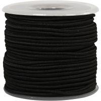Elastiskt snöre, tjocklek 2 mm, svart, 25 m/ 1 rl.