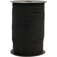 Elastiskt snöre, tjocklek 2 mm, svart, 250 m/ 1 rl.