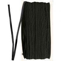 Resårband, B: 6 mm, svart, 50 m/ 1 rl.