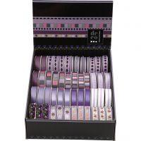 Dekorationsband - sortiment, B: 10 mm, lila, 48x2 m/ 1 förp.