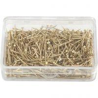 Knappnålar, L: 16 mm, tjocklek 0,65 mm, guld, 25 g/ 1 förp.