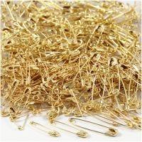 Säkerhetsnålar, L: 19+22+28 mm, tjocklek 0,5-0,6 mm, guld, 600 st./ 1 förp.