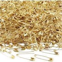 Säkerhetsnålar, L: 22 mm, tjocklek 0,6 mm, guld, 500 st./ 1 förp.