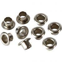 Öljetter, H: 4,5 mm, Dia. 7,5 mm, Hålstl. 4 mm, silver, 100 st./ 1 förp.
