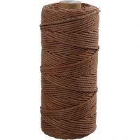 Knytgarn, L: 100 m, tjocklek 2 mm, Tunn kvalitet 12/36, brun, 225 g/ 1 nystan