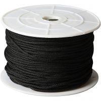 Knytsnören, tjocklek 2 mm, svart, 50 m/ 1 rl.