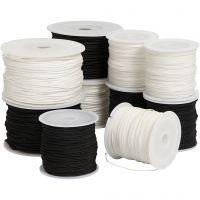 Knytsnören, tjocklek 1-2 mm, Innehållet kan variera , svart, brun/vit, vit, 10x50 m/ 1 förp.