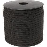 Knytsnöre, B: 5 mm, svart, 50 m/ 1 rl.