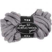 XL Akrylgarn med ull, L: 15 m, stl. mega , grå, 300 g/ 1 nystan