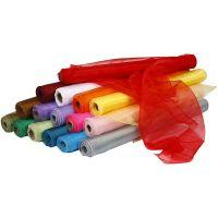 Organzatyg, B: 50 cm, mixade färger, 16x6 rl./ 1 förp.