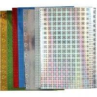 Holografipapper, A4, 210x297 mm, 120 g, 8 mix. ark/ 1 förp.