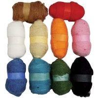 Kardad ull, mixade färger, 10x25 g/ 1 förp.